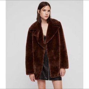NWT AllSaints Amice Faux Fur coat size L